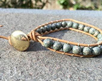 6mm Marbled Green Stone Handmade Boho Beaded Leather Single Wrap Bracelet