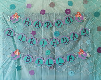 The Little Mermaid Birthday Banner / Under the Sea Party / Garland / Sign / Party Decoration / Disney / Ariel birthday banner / Sea Shells