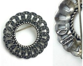 Vintage JJ Judith Jack Sterling Silver Marcasite Brooch | 60s Wreath Circle Chain Jewelry | 50s Pin | 1960s Designer Signed