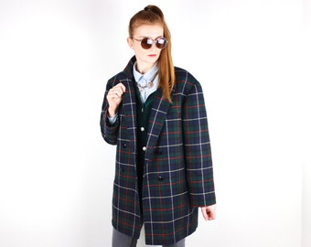 French vintage wool plaid jacket coat / 1980s Double Breasted Tartan Blazer Shoulder pads Fall Winter Coat Made in France Large SIze