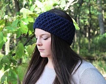Navy Blue Headband, Blue Earwarmers, Blue Crochet Headband, Blue Winter Headband, Blue Ear Warmers, Blue Chunky Earwarmers, THE CYPRESS