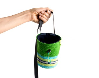 Crochet Chalk Bag. Trad Chalk Bag for Climbers. Climbers Gift Idea - Handmade Chalkbag L Size
