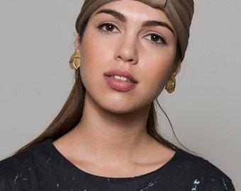 Beige Twisted Headband, Turban Twist Headband, Beige Yoga Headband, Beige Turban Headband, Headband With A Removable Element