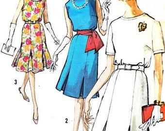 Simplicity Sewing Pattern 1960's Short Dress w/Belt and Pleats #4390