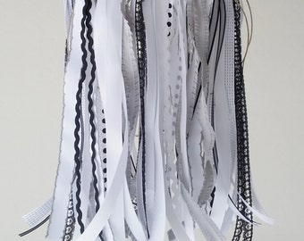 Black and White Mobile , Ribbon and Lace Mobile , Shabby Chic Mobile , Baby Girl Mobile , Cot Mobile , Crib Mobile , Ivory mobile