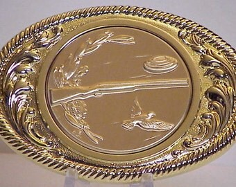 Trap Shoot, Skeet Shoot and Sporting Clays Belt Buckles 24kt GOLD Plate...