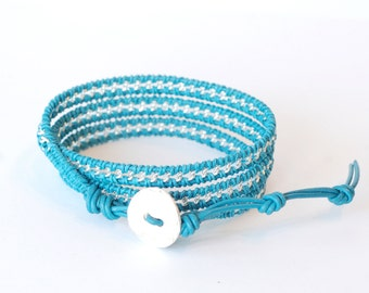 Leather Bracelet, Turquoise and Silver, Triple Wrap Bracelet