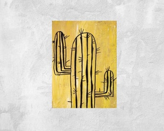 """Small Cactus painting  6""""8"""""""