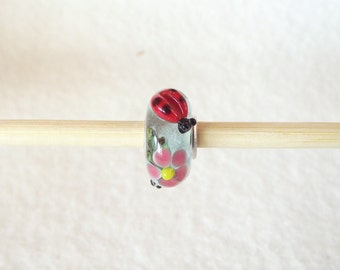 Fun Ladybug Covered Lampwork Glass Bead for European Charm Bracelet 925 Sterling Silver F006