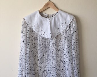 Vintage sheer collared l/s blouse