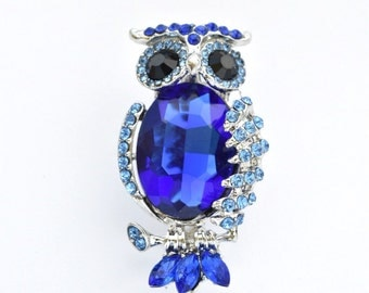 Blue Owl Brooch Rhinestone Crystal Brooch Wedding Accessories Bridal Brooch bouquet Wedding