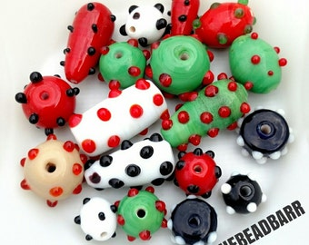 Lampwork Glass Bumpy Bead Lot 18pcs Mixed Lot of colors shapes sizes Red Green Black White Jewelry Making Supply lot Craft supplies & Tools