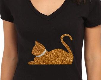 Gold Glitter Cat
