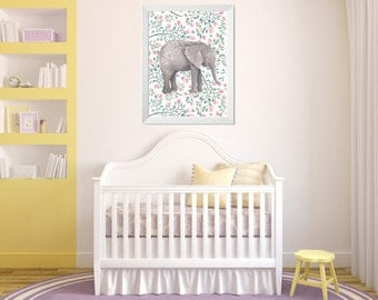 Bloomy Little Elephant Watercolor Nursery Print, Soft Colored Poster, Baby Room Wall Art, Floral Pattern, Instant Download, One of a kind