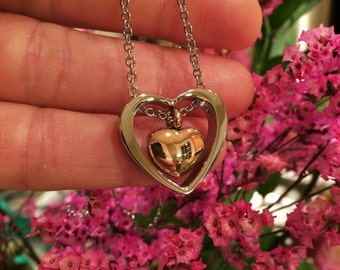 """Silver & Rose Gold Stainless Steel """"Heart Within a Heart"""" Cremation Jewelry Pendant Necklace // Ash Memorial Keepsake Urn    8078-1"""