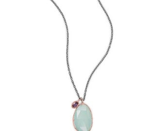 Chalcedony and Iolite Drop Necklace