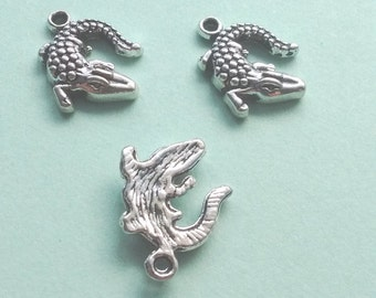 10 Crocodile Charms Silver Alligator Charm - CS2125