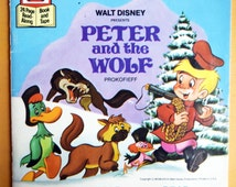 Walt Disney Presents 'Peter and the Wolf'/Prokofieff/See the Pictures, Hear the tape, Read the book/vintage children's paperback story book