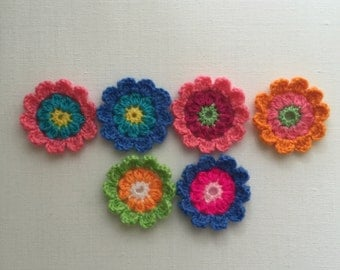 Crochet flowers, crochet appliqués, flower appliqués, embellishments, set of 6