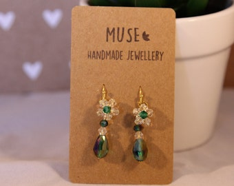 Emerald green crystal drop earrings with small crystal flower , crystal beads, unique earrings, handmade earrings, crystal earrings, small.