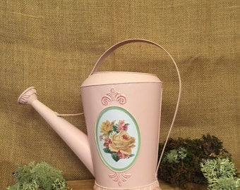 Pink Metal Decorative Watering Can
