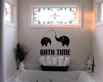 Wall decor vinyl sticker / vinyl decal / wall sticker / wall decal inspirational BATH TIME w/ two Elephants