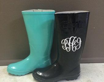 SALE was 49.00 NOW 25.00 Black Monogram Vinyl Rainboots, Vinyl Decal Women's Rainboots, Shoes, Boots