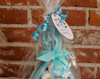 Stork Bundle (Blanket, Diapers & Pacifier) Aqua Item #14