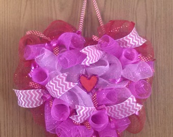 """18"""" Heart Shaped Red and Multi Pink Deco Mesh Wreath"""