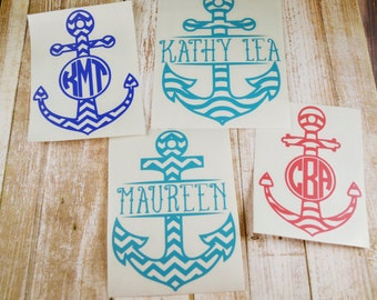 Anchor Decal, Nautical Decal, Yeti Decal, Monogram Decal, Name Decal, MacBook Decal, Beach Decal, Ocean Decal, Boat Decal