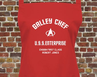 Personalised Star Trek Galley Chef Apron With Your Name & Rank on the Starship Enterprise - Choice of 16 Colours,  1046