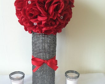 12 Bling Centerpieces, Bling Kissing Ball, Fairy Tale Wedding, Rhinestone Vase, Votive Candle Holder, Tall Centerpiece, Red Kissing Ball