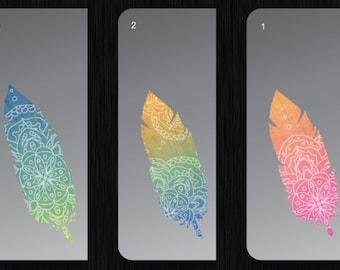 Ethnic spiritual feather, Apple MacBook / trackpad / Laptop / iPad color Mint Decal sticker