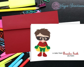 Personalized Superhero Stationery / Custom Robin Thank You Card / Superhero Stationery Set / Custom Boy note cards / Set of 12 kid notes