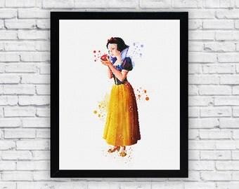 Snow White Watercolor print, Printable Wall Art, nursery decor, wall decor, home decor poster