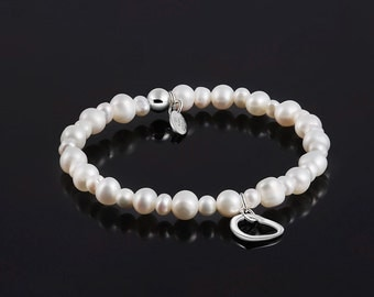 White Pearl Freshwater 925 Sterling Silver Sarulo Bracelet Genuine Jewelry Elasticated Stunning Design