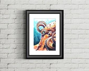 8x10 Octopus watercolor & liquid arcylic print