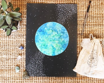 PRINT - Watercolour Planet Earth