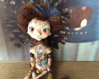 SALE! OOAK art doll, Moppiedoll, clay doll, decorative doll