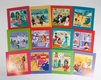 Set 12 Spanish Retro Scenes, Spain, Cards, Souvenir, Gypsy, Flamenco show, Dalí, Don Quixote, Corrida de Toros, the Alhambra, Winery