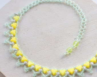 Lemon and meadow green delicate lace beaded necklace // Triangle kheops bead necklace // Spring lace necklace