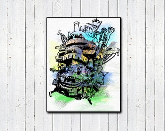 """Howl's Moving Castle 11x14"""" Watercolor Poster, Hayao Miyazaki, Japanese, Classic Movies, Children's Movies, Howl and Sophie, Anime"""