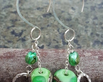 Green Lampwork and Sterling Silver Earrings - Apple Green Earrings - Unique Gift for Her - Unique Earrings - Lampwork Bead Earrings - Gifts