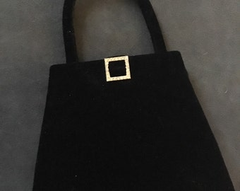 Small black velvet purse