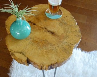 Artisan tree slice table, tree stump table, live edge side table