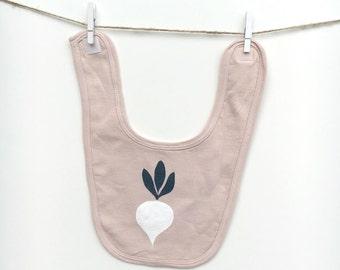 Organic baby bib | Beige | Baby bib | Beet print