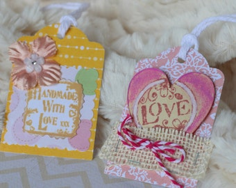 Set of 2 Shabby Chic Love Gift Tags, Pastel pink and Soft yellow, scrapbooking, embelishment,birthday