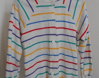 90s Striped Cardigan Sweater