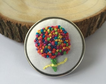 Flower Embroidery Brooch, Unique Brooch, Colourful Pin, Embroidered Brooch Bouquet, Mom Birthday Gift under 30, Hand Stitched Jewellery
