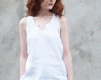 Sleeveless white linen top with round V neck, black linen top, summer blouse, loose linen blouse, linen tank top, sleeveless top